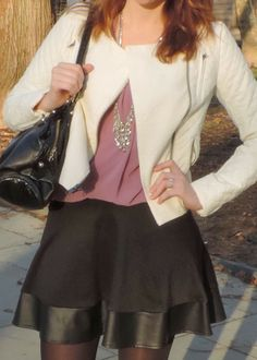 See What Katie Wears: Early Spring outfit - faux-leather quilted jacket, lavender top, faux-leather skater skirt, black bag, silver fringe necklace