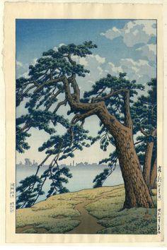HASUI Japanese Woodblock print, Doi publisher, Yotsuya Mitsuke mint condition. $260.00, via Etsy.