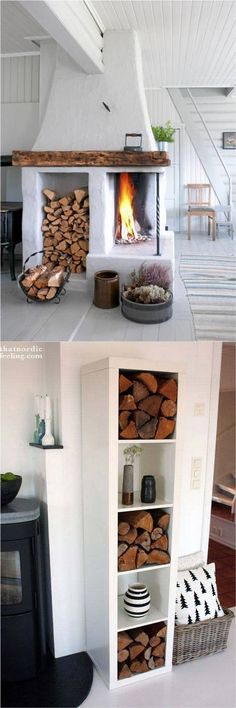 15 firewood storage and creative firewood rack ideas for indoors and outdoors. Lots of great building tutorials and DIY-friendly inspirations! - A Piece Of Rainbow Indoor Firewood Rack, Firewood Shed, Firewood Storage, Firewood Holder, Backyard Fireplace, Diy Fireplace, Diy Storage Outdoor, Ikea Regal, Log Store