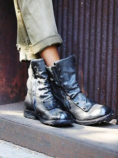 Jaq Boot | An edgy take on the work boot, these Italian leather ankle boots feature dual side zips for versatile styling and hardware detailing.  *By A.S.98.  *Soft leather from Italian tanneries and handmade finishes, each shoe and bag is unique with a rough, strong statement. All but boring and replaceable.  *All materials and components are from Italy and exported for manufacturing.