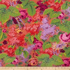 Kaffe Fassett Spring 2014 Collective Earth Lilac Red from @fabricdotcom  Designed by Philip Jacobs for Westminster Fabrics, this cotton print is perfect for quilting, apparel and home decor accents. Colors include red, pink, blue and yellow.