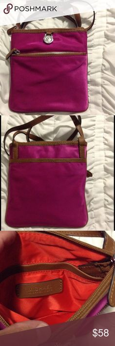 """Michael Kors Nylon Crossbody Nylon crossbody in a fun raspberry color, only used this a few times. Nice condition, see photos. Front zip pocket with back slip pocket with snap. Top zip closure with 2 inside slip pockets. Great bag, just a little too small for me.  Measures 7 1/2"""" W x 8"""" H , adjustable strap drop 24"""". Michael Kors Bags Crossbody Bags"""