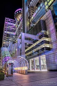 The Fuji Television building in Odaiba, Tokyo with its beautiful illuminations at night.Japan