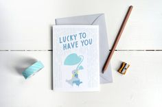 Lucky To Have You Card di MonsieurP su Etsy