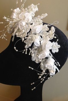 Vintage 1990's Bridal Headpiece/White Pearl/Satin Flowers/Sequins/Bugle Beads/Wedding Bride Bridal Headpiece #icusuezq on #Etsy  #hairaccessories #bride #Wedding #headpiece  #hairaccessories #bride #Wedding #vintageheadpiece/NOS New Old Stock by icusuezq on Etsy