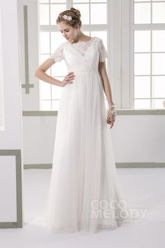 Pretty+Sheath+Bateau+Natural+Train+Tulle+Ivory+Short+Sleeve+Zipper+With+Button+Wedding+Dress+with+Beading+JWXT15051