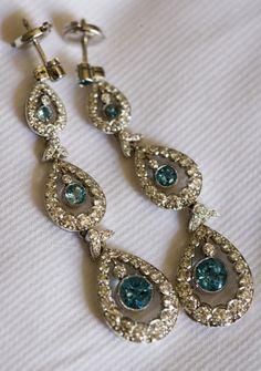 Tiffany Earrings Diamond And Aquamarine.