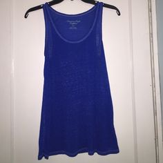 American eagle tank Blue tank top, sheer material, worn once, great condition American Eagle Outfitters Tops Tank Tops