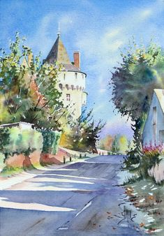 Watercolor Canvas, Watercolor Landscape, Watercolor Paintings, Watercolors, Mont Saint Michel, The Real World, French Artists, Various Artists, Creations