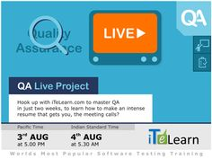 QA Live Project provides you a live project experience on Manual Testing with preparing SRS, Test Plan, Test Scenarios and Test Cases, Test Execution, Test Reporting, Defect Tracking/Defect Management and System Test Sign-off. Enroll yourself for the course on the 03rd Aug - QA Live Project-Day-01 Demo Session.