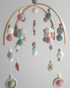 A beautiful, modern, hand made mobile for your little ones nursery. Each item is lovingly hand made and colours and patterns can be customised to match your colour theme. We have a variety of colours available in felt balls and silicone beads. Please contact us if you are after a specific colour not listed and we will do our best to source it for you. Pictured Felt Ball colours: Mint, White, Light Grey, Dusty Pink Silicone Bead colours: Mint, Natural Please note that this item is for…
