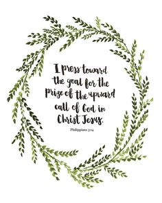 Hand Lettered Art Print Philippians 3:14 by AprylMade on Etsy