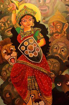 Maa Durga Durga Maa Paintings, Durga Painting, Indian Art Paintings, Madhubani Art, Madhubani Painting, Bengali Art, Flower Art Drawing, Art Painting Gallery, Indian Folk Art