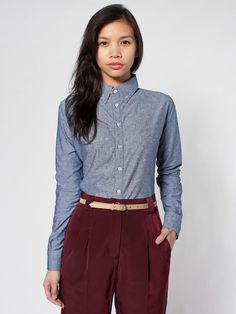 Spring must-have collared blouses: Unisex Chambray Long Sleeve Button-Down Shirt from American Apparel.