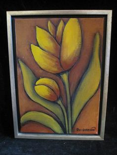 """Oil Paintings - Acrylic Paintings  Subscribe to our feed. rss feed icon   Original framed modern oil painting on canvas signed P. St. Germain (Patrick) - Yellow Tulip. - $70  This very nice and well executed framed oil painting on canvas is in very nice condition, signed in the lower right hand corner, """"P. St. Germain"""" (Patrick).  Patrick St. Germain is the head of Ren-Wil's Art Studio. graduating from Concordia University in Montreal with a Bachelor's Degree in Fine Arts."""