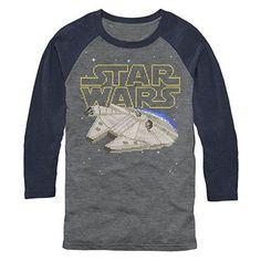 Star Wars Falcon Squared Pixel Raglan Long Sleeve T-Shirt