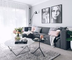 living room, white and black plus little pink and green parts