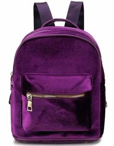 "Product Information: Type: Backpacks Material: Velour Pattern: Solid Closure Type: Zipper Features: Interior Pockets Size: 9.8"" x 9"" x 5.5""/25cm x 23cm x 14cm Capacity: Approx. 20L Package Includes: 1 x Violet Velvet Mini Backpack"