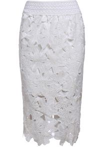 WOW! Floral Crochet Hollow Lace White Skirt