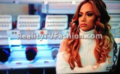 Erica Mena's White Turtleneck Sweater With Sheer Shoulders #LHHNY