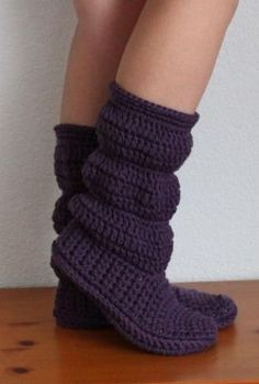 Cozy Slippers Crochet Boots - Knitting Patterns by Holly Mock