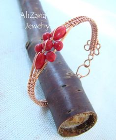 Red Howlite Flower - Bracelet - Wire Wrapped - Copper