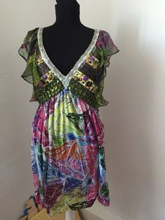 CUSTO Barcelona beads sequin colorful dress V-neck summer Sz 2 S/M ruffle sleeve Ruffle Sleeve, Thrifting, Barcelona, Cover Up, Sequins, V Neck, Colorful, Summer Dresses, Beads