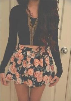 I love this outfit♥ #flowers #skirt #black #shirt