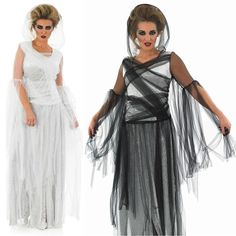 Ladies Long Length Ghost Dead Bride Halloween Fancy Dress Costume 8-30 Plus Size #Unbranded #CompleteOutfit