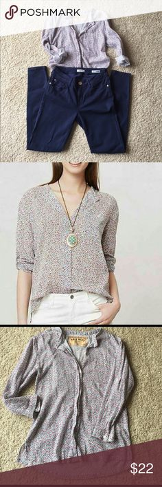 Anthro Ana Seff Floral Blouse EUC. 3/4 button sleeves that can be rolled. Front pocket.                                                                               bundle & save  offers welcome  fast shipping Anthropologie Tops Blouses