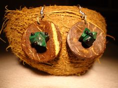 Gemstone Earrings Malachite Earrings Coconut by GaeaCrafts on Etsy