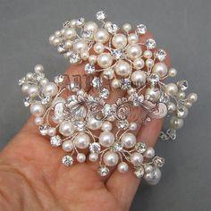 Wedding Bracelet Ivory Swarovski Pearl Vine Bridal by adriajewelry