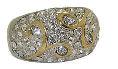 TWO TONE DESIGNER RING 18 KARAT GOLD & CZ'S NEW SELECT YOUR SIZE