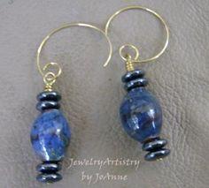 Lampwork Bead Earrings - Handcrafted Incredible Blue by JewelryArtistry - E237 by JewelryArtistry for $25.00