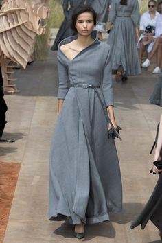 Dior Fall 2017 Couture at Paris Fashion Week gray dress