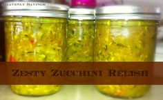 Canned - Zucchini Relish Every fall I get bombarded with Zucchini and Squash. I am not complaining as I LOVE zucchini and squash and with my over abundance of it I am able to come up . Relish Recipes, Wrap Recipes, Canning Recipes, New Recipes, Favorite Recipes, Veggie Recipes, Canned Zucchini, Zucchini Relish, Pickling