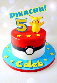 Pokemon Birthday Cake, 6th Birthday Cakes, Pokemon Party, Happy Birthday, Minion Birthday, Birthday Ideas, Bolo Pikachu, Pikachu Cake, Pokemon Cake Topper