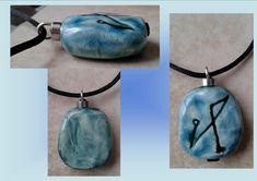 Archangel Michael Necklace Turquoise Teal Angel Sigil Ceramic Pendant Sacred Protection Amulet Divine Love