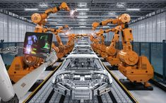 Robot assembly line in car factory. rendering robot assembly line in car fact , In China, Robot Programming, Industrial Robots, Industrial Design, Robotic Automation, Assembly Line, Robot Arm, France, Illustrations