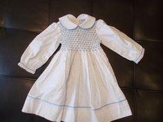 Friedknit Creations Blue Polka Dot Smocked Dress for Girls 12 months Vintage  #FRIEDKNITCREATIONS #smockeddress #CasualFormalParty