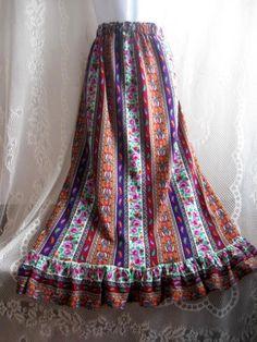 Long Skirt Modest Skirt Bright Colorful Hippie Skirt  by HappyRagz