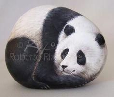 Giant panda | Rock painting art by Roberto Rizzo