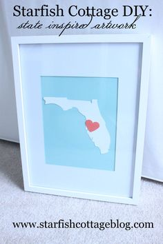 DIY: Easy, inexpensive state inspired artwork. www.starfishcottageblog.com