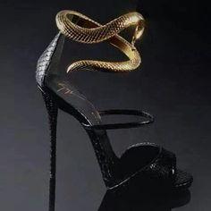 Modern Goddess.Love this: Ankle Strap Snake Heels GUISEPPE ZANOTTI