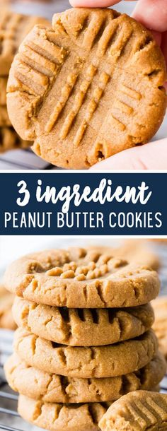 3 Ingredient Peanut Butter Cookies - Easy Peasy Meals - - With only three ingredients these cookies can be whipped up in a snap. Delicious, quick, and easy these cookies are the whole cookie package. Chewy Peanut Butter Cookies, Butter Cookies Recipe, Peanut Butter Recipes, Keto Cookies, Cookies Soft, Peanut Butter Cookie Recipe 3 Ingredient, Diabetic Peanut Butter Cookie Recipe, Vegan 3 Ingredient Cookies, Cookies