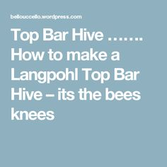 Top Bar Hive ……. How to make a Langpohl Top Bar Hive – its the bees knees