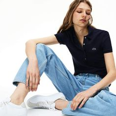 Choose the comfort of stretch mini cotton piqué in this slim-fitting Polo Shirt. This polo shirt fits true to size. Polo Shirt Outfit Women's, Polo Shirt Women, Pique Polo Shirt, Tomboy Outfits, Casual Outfits, Summer Outfits, Fashion Outfits, Lacoste Polo Shirts, Friday Outfit