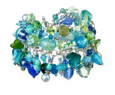 Aqua beaded charm bracelet handmade 'Azure Blue' by Voogs on Etsy, $55.00