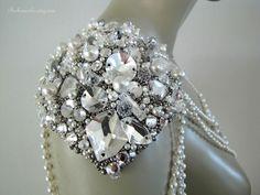 crystal shoulder epaulettes | Emerald Volcano Epaulet $225
