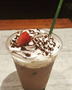Feeling fruity? Try a chocolate dipped strawberry iced latte! #culturedcoffeeandwaffles #radcanton #strawberry #latte